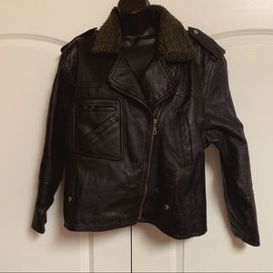 VTG Black Leather Bomber Moto Faux Sherpa Jacket L
